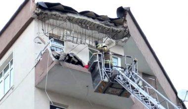 Güngören'de 5 katlı binanın balkonunda çökme meydana geldi