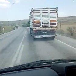 Çankırı'da ambulansa yol vermeyen kamyon sürücüsü